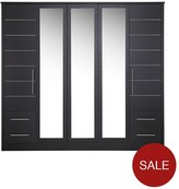 Consort Furniture Limited New Liberty 5-Door, 4-Drawer Mirrored Wardrobe