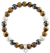 Thomas Sabo Unisex 925 Sterling Silver Freshwater Pearl Tiger Eye Rekon Hematite Bracelet of Length 17.5cm X0218-948-2-L17,5