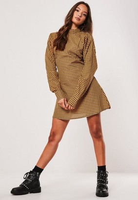 Missguided Yellow Plaid High Neck A Line Dress