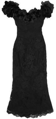 Marchesa Off-the-shoulder Floral-appliqued Lace Midi Dress