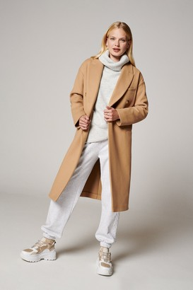 Topshop Womens Camel Classic Double Breasted Coat - Camel