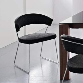 Connubia New York Leather Guest Chair Connubia Frame Finish: Chromed, Upholstery: Leather - Black