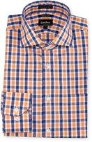 Neiman Marcus Trim-Fit Regular-Finish Plaid Dress Shirt, Orange/Blue