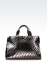 Armani Jeans Tote Bag In Laminated Faux Leather