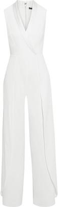 Alice + Olivia Bebe Wrap-effect Satin-trimmed Crepe Wide-leg Jumpsuit