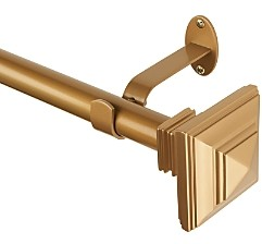 Elrene Home Fashions Florence Adjustable Curtain Rod with Square Finials, 28-48
