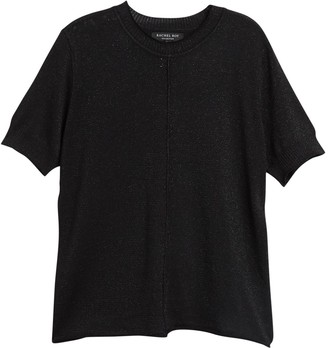 Rachel Roy Metallic Knit Short Sleeve Top