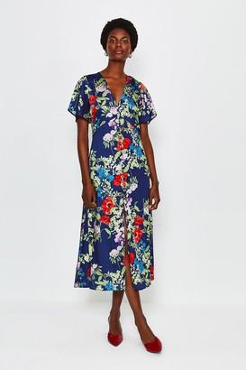 Karen Millen Floral Midi Short Sleeve Dress