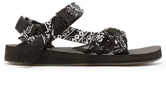 Arizona Love - Trekky Bandana-wrapped Velcro-strap Sandals - Womens - Black