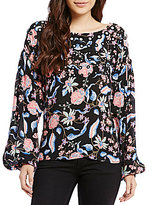 GUESS Isadora Long-Sleeve Floral-Print Mirrored Popover Blouse