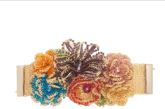 Flowered Hand-Made Multicolored Crochet Bracelet