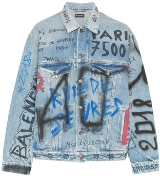 Balenciaga Oversized Graffiti Denim Jacket