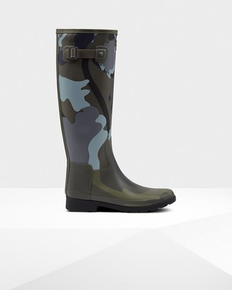 Hunter Women's Refined Slim Fit Rockpool Camo Gum Tall Rain Boots