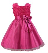 Evaliana Flower Girl Ball Gown Kids Rosette Bowknot Wedding Evening Party Dress