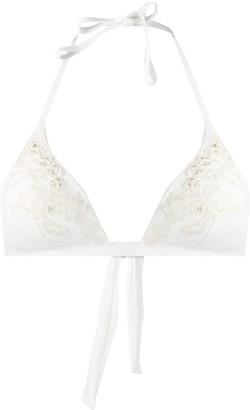 La Perla Embroidered Tulle Bikini Top