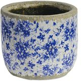 A&B Home Floral Round Ceramic Indoor/Outdoor 7-Inch Planter in Blue/White