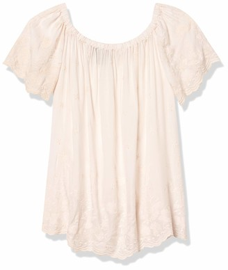 Angie Women's Short Sleeve Off Shoulder Embroidery Top