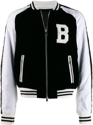 Balmain contrast sleeves bomber jacket