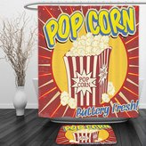 Vipsung Shower Curtain And Ground Mat1950s Decor by Vintage Grunge Style Pop Corn Commercial Print Old Fashioned Cinema Movie Film Snack Artsy Work MultiShower Curtain Set with Bath Mats Rugs