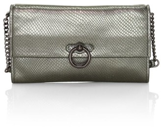 Rebecca Minkoff Jean Lizard-Embossed Metallic Leather Clutch