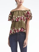 Banana Republic Floral Off-the-Shoulder Ruffle Top