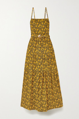 Nicholas Kerala Belted Printed Cotton-poplin Maxi Dress - Saffron
