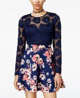 B. Darlin Juniors' Scuba Lace Fit & Flare Dress