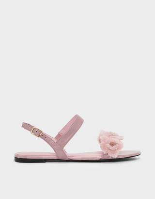 Charles & Keith Furry Floral Detail Sandals