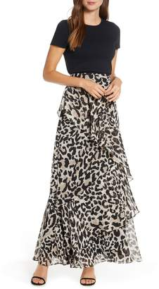 Eliza J Asymmetrical Ruffle Animal Print Maxi Skirt