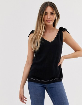 Asos Design DESIGN tank with tie shoulder with contrast stitching