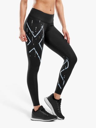 2XU Printed Mid-Rise Compression Training Tights, Black/Frequency Boysenberry