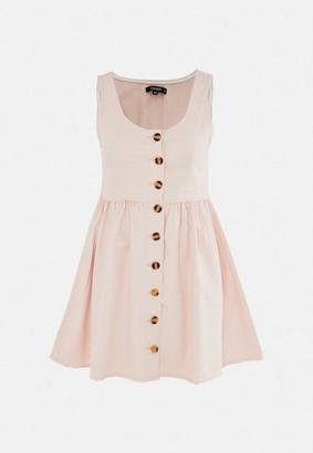 Missguided Petite Blush Button Through Denim Skater Dress