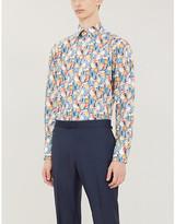 Eton Floral-print contemporary-fit poplin shirt