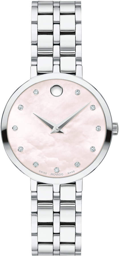 Movado 28mm Kora Pink Mother-of-Pearl Bracelet Watch w/ Diamonds