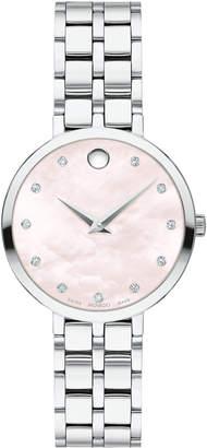 Movado 28mm Kora Pink Mother-of-Pearl Bracelet Watch w/ Diamonds
