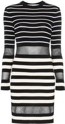 Off-White Mesh Panel Stripe Print Mini Dress