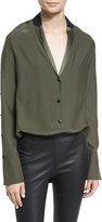 Rag & Bone Leighton Two-Tone Silk Satin Tunic, Army Green