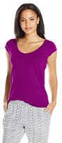 Velvet by Graham & Spencer Women's Slub V-Neck Cap-Sleeve T-Shirt