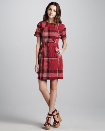 Burberry Belted Check Shirtdress