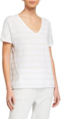 Frank And Eileen Deep V-Neck Tonal Stripe Short-Sleeve Jersey Tee