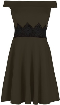 Oops Outlet Womens Ladies Waist Lace Off The Shoulder Bardot Flared Franki Mini Skater Dress Khaki