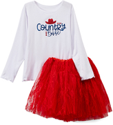 Beary Basics White & Red 'Country Babe' Tee & Lace Skirt - Toddler & Girls