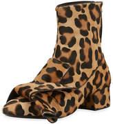 No.21 No. 21 Leopard-Print Calf Hair Bow Boot
