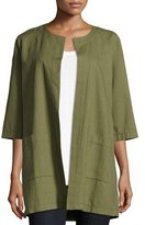 Eileen Fisher Cross-Dyed Long Jacket, Olive, Plus Size