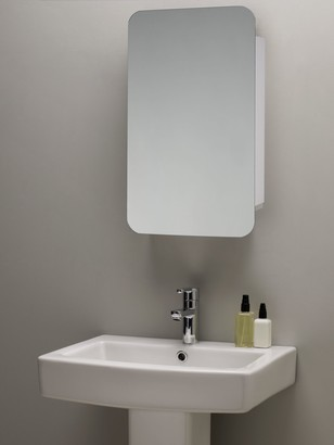 John Lewis & Partners Single Mirrored Sliding Door Bathroom Cabinet