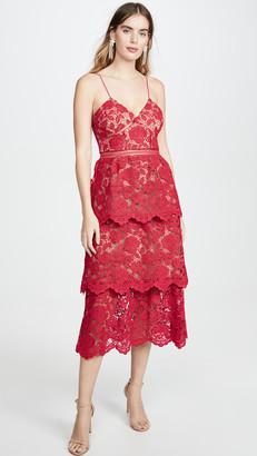 Self-Portrait Flower Lace Midi Dress