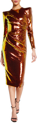 Alex Perry Kelsey Sequined Structured-Shoulder Midi Dress