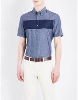 Michael Kors Contrast-stripe Short-sleeved Denim Shirt