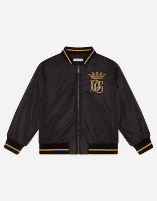 Dolce & Gabbana Nylon Bomber Jacket With Embroidered Logo