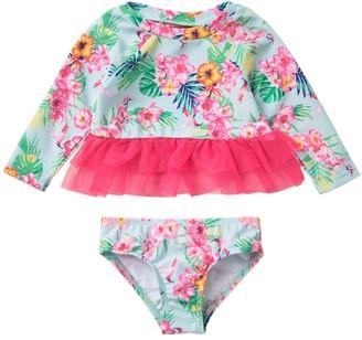 Biscotti Tropical Print Rashguard Top & Bottom Swimsuit Set (Baby Girls)